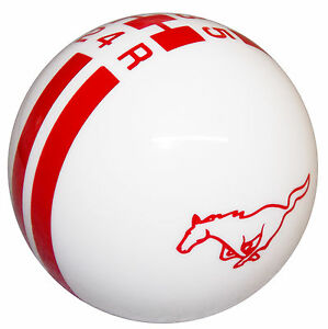 Ford Rally White W Red Stripes Pony Mustang 5 Speed Shift Knob M12x1 25 Thread