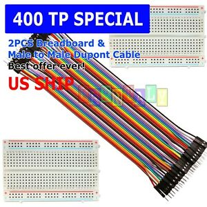 2x 400 Point Solderless Prototype Breadboard Protoboard 40 Dupont 20cm M m Wires