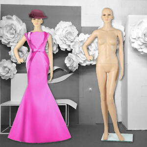 Female Full Body Realistic Mannequin Display Head Turns Dress Form W Base Us Ek