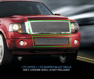 Polished Billet Grille Grill Combo Grill Fits 2007 2014 Ford Expedition