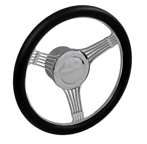 14 Chromed Billet Aluminum Banjo Steering Wheel Adapter Horn Button