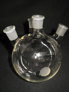 Chemglass 14 20 Joints Angled 4 neck 500ml Round Bottom Distilling Flask