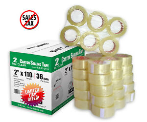 Carton Sealing Tape Clear 2 Mil 2 x110 Yards 330 Ft Package Box Packing 36 Rolls