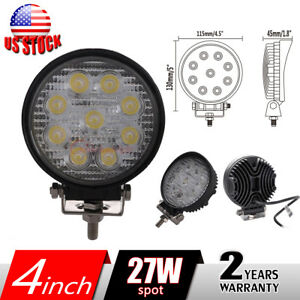9 Leds 27w Round Led Spot Light Driving Working Fog Off Road Lamp Jeep Car 4inch