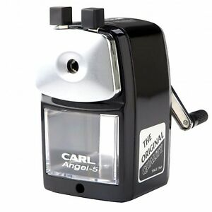 Carl Angel 5 Manual Pencil Sharpener Heavy Duty Office Home School Black
