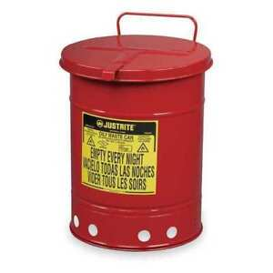 Justrite 09310 Oily Waste Can 10 Gal steel red