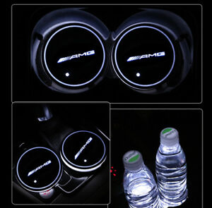 Amg Led Car Cup Holder Pad Mat For Mercedes Benz Auto Interior Atmosphere Lights