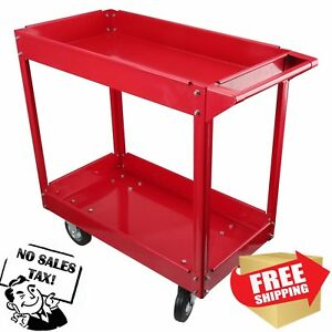 Steel Utility Cart 2 Metal Shelves Wheeled Rolling Heavy Duty Shop Tools 600 Lb