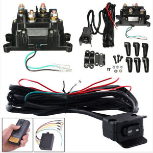 Car Suv Atv Utv Solenoid Relay Contactor Winch Remote Control Kit rocker Switch