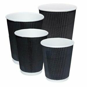 Black Ripple Paper Coffee Cups Round Ripple 8 12 16oz Disposable Lids Hot Drink