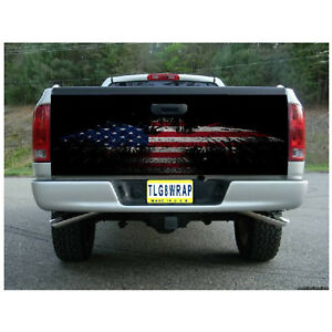 T30 American Flag Eagle Tailgate Wrap Vinyl Graphic Decal Sticker Laminated
