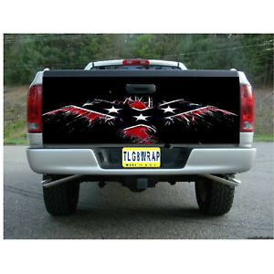 T68 Flag Eagle Tailgate Wrap Vinyl Graphic Decal Sticker Laminated