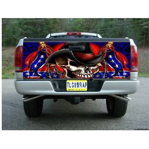 T70 American Flag Skull Tailgate Wrap Vinyl Graphic Decal Sticker Laminated