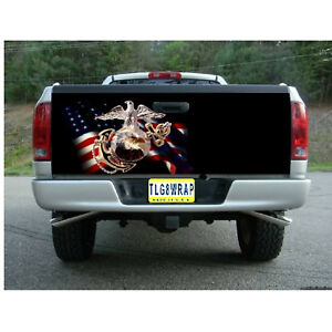 T129 Marines Us Marines Tailgate Wrap Vinyl Graphic Decal Sticker Laminated