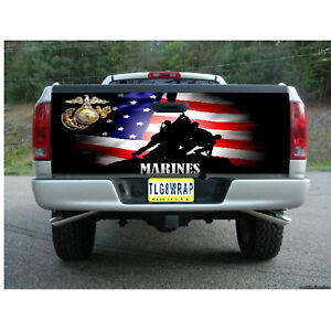 T130 Marines Us Marine Tailgate Wrap Vinyl Graphic Decal Sticker Laminated