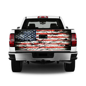T326 American Flag Tailgate Wrap Vinyl Graphic Decal Sticker Laminated