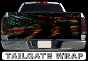 T191 American Flag Tailgate Wrap Vinyl Graphic Decal Sticker Laminated