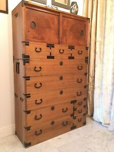 1890s 1920s Meiji Taisho Japanese Tansu Dresser Chest Of Drawers Kiri Wood Iron