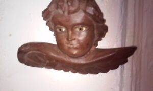 Vintage Antique Hand Carved Wooden Wall Angel