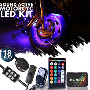 18pcs Motorcycle Led Neon Under Glow Lights Kit For Harley Davidson W Switch