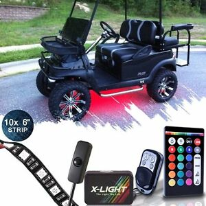10pc Golf Cart Underbody Glow Led Lighting Kit 18 Color Accent Neon Strip
