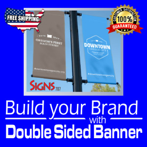 2 X 5 Double Sided Print 15 Oz Full Color Custom Banner rolled Shipping