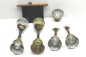 Vintage Antique Door Hardware Lot 7 Glass Knobs Shafts Closet Interior Lock