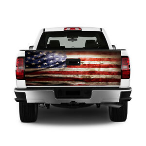 T327 American Flag Tailgate Wrap Vinyl Graphic Decal Sticker Laminated