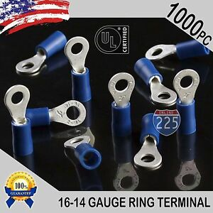 1000 Pack 16 14 Gauge 8 Stud Insulated Vinyl Ring Terminals Tin Copper Core Us