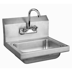 Stainless Steel Wall mount Hand Sink 9 X 9 Bowl With Faucet Nsf Certified