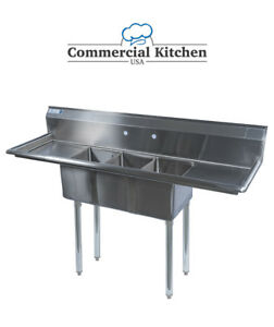 Stainless Steel 3 Compartment Sink 60 X 20 With 2 Drainboards Nsf Certified