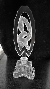 C I O Czech Crystal Hand Made Perfume Bottle With Etched Figurine Stopper Bnwb