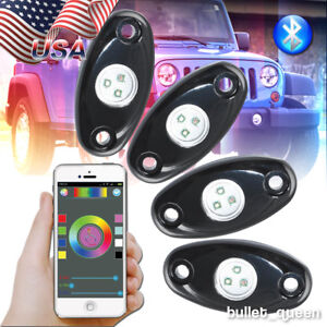 4x Offroad Suv Under Car Lights Wireless Bluetooth Music Rgb Led Glow Rock Light