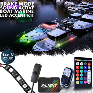 Wireless 14pc Led Boat Accent Lights Kit Waterproof Bright Strips Yacht Inter