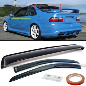 Rear Roof Window Visor Spoiler Wing Kit For 1992 1995 Honda Civic Ex Dx 2 Door