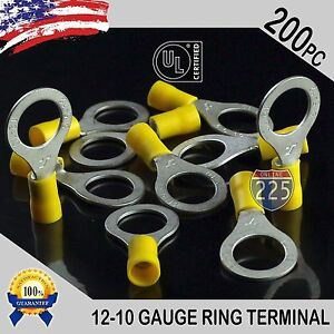 200 Pack 12 10 Gauge 1 2 Stud Insulated Vinyl Ring Terminals Tin Copper Core Us