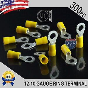 300 Pack 12 10 Gauge 1 4 Stud Insulated Vinyl Ring Terminals Tin Copper Core Us