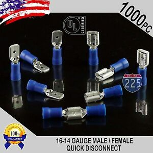 1000 Pack 16 14 Gauge Male Female Quick Disconnect Blue Vinyl 250 Connectors