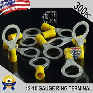 300 Pack 12 10 Gauge 1 2 Stud Insulated Vinyl Ring Terminals Tin Copper Core Us