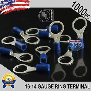 1000 Pack 16 14 Gauge 3 8 Stud Insulated Vinyl Tin Copper Ring Terminal 3 8 Ul