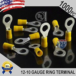 1000 Pack 12 10 Gauge 5 16 Stud Insulated Vinyl Ring Terminals Tin Copper Core