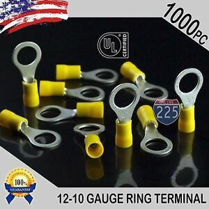 1000 Pack 12 10 Gauge 3 8 Stud Insulated Vinyl Ring Terminals Tin Copper Core