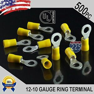 500 Pack 12 10 Gauge 1 4 Stud Insulated Vinyl Ring Terminals Tin Copper Core Us