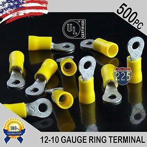 500 Pack 12 10 Gauge 8 Stud Insulated Vinyl Ring Terminals Tin Copper Core Us