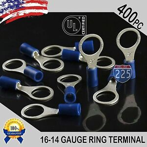 400 Pack 16 14 Gauge 3 8 Stud Insulated Vinyl Ring Terminals Tin Copper Core Us