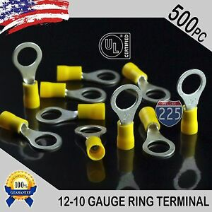 500 Pack 12 10 Gauge 3 8 Stud Insulated Vinyl Ring Terminals Tin Copper Core Us