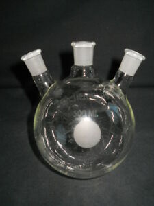 Chemglass 14 20 Angled 3 neck 500ml Heavy Wall Round Bottom Flask Chipped