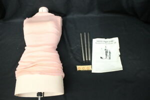 Vintage Dritz Adjustable Female Torso Dress Form 696 Pink Mannequin Size A box