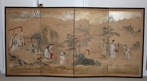 Antique Japanese Painting Screens Kano School 72 Inches