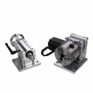 Cnc Router Rotary A 4th Axis Gearbox 3 Jaw 80mm 20 1 Engraving 70mm Tailstock